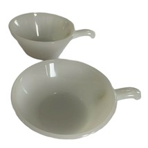 Anchor Hocking Oven-Proof Milk Glass 240 USA Handled Crock Soup Chili Bowls - $7.69