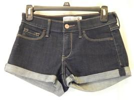 Abercrombie & Fitch Womens Sz 0 (W25) Dark Wash Stretch Low Rise Jean Sh... - $13.49