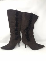 """Wild Diva Women 18"""" High Pointy Boot US 10 Brown Leather Calf High Zipper w Rose - $29.65"""