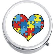 Puzzle Heart Autism Medicine Vitamin Compact Pill Box - $9.78
