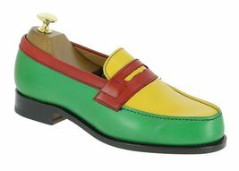 New Handmade Men's Multi Color Leather Slip Ons Loafer Shoes image 2