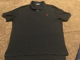 Ralph Lauren Polo Shirt Black Red Men's Short Sleeve Large Solid Man 2-B... - $19.79