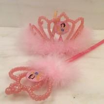 Vintage VTG Pink DISNEY PRINCESS TIARA & WAND SET Dressup - $23.76