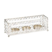 Candle Holder With Crystals, Modern Small Glass Crystal Candle Holders - £22.73 GBP
