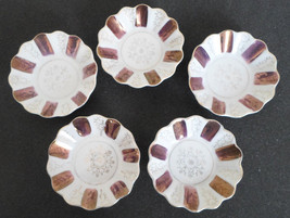 Antique Luster Ware Purple Porcelain Sauce Dishes Set of 5 Made in Japan  - $19.79