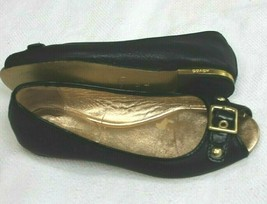 Coach Leana Slip on Flats Genuine Leather Gold Buckle Womens Size 6.5 Shoes - $39.60