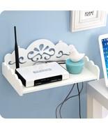 R white organization storage hanging wall shelf hdf stb remote control holder for home thumbtall