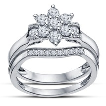 Round Cut Diamond Beuatiful Prong Set Flower Engagement Her Bridal Ring Set - $52.99