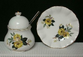 Thorley Staffordshire Lidded Sugar Bowl Spoon & Small Dish Yellow Floral England - $24.73