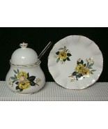 THORLEY Staffordshire LIDDED SUGAR BOWL SPOON & SMALL DISH Yellow Floral... - $24.73