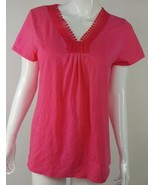 Kohls Women Medium Pink Short Sleeve V-Neck Blouse Embroidered Neckline ... - $9.49