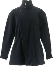 Martha Stewart Long Slv Zip Front Anorak Jacket Black S NEW A307687 - $24.73