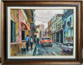 Framed Original Painting on Canvas Cuba Street Old Cars Signed - $359.99