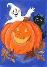 "Pumpkin Ghost Halloween Garden Flag Black Cat Jack O'lantern 12.5"" x 18"" - €11,11 EUR"