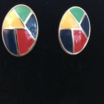 "VINTAGE Large 1 1/2"" RETRO '80s OVAL Primary Colors Enamel  POST EARRING... - $18.05"