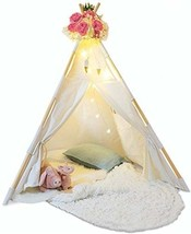 Kids Teepee Tent for Kids Cotton With Fairy Lights Feathers Waterproof B... - $100.19