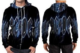 AC DC logo blue lightning Hoodie Zipper Fullprint Men - $46.80