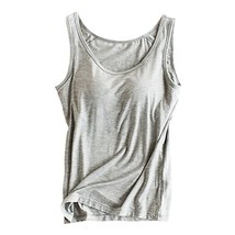 Womens Modal Built-in Bra Padded Camisole Yoga Tanks Tops Gray XL - $19.56