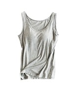 Womens Modal Built-in Bra Padded Camisole Yoga Tanks Tops Gray XL - $18.61