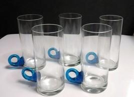 Set of 5) Tall Crystal Irish Coffee Mugs w/Handblown Applied Blue Loop H... - $9.89