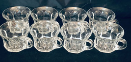 """Heisey Glass (8) Mini Punch Cups 2"""" x 3"""" Pressed Glass Bottoms Thumbprint - $44.55"""