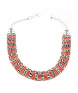 Handmade Traditional Oxidized Silver Coral Stone necklace Jewelry - $350.05