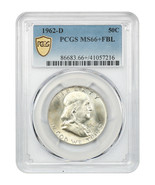 1962-D 50c PCGS MS66+ FBL - Tied for Finest Known! - Franklin Half Dollar - $17,169.00