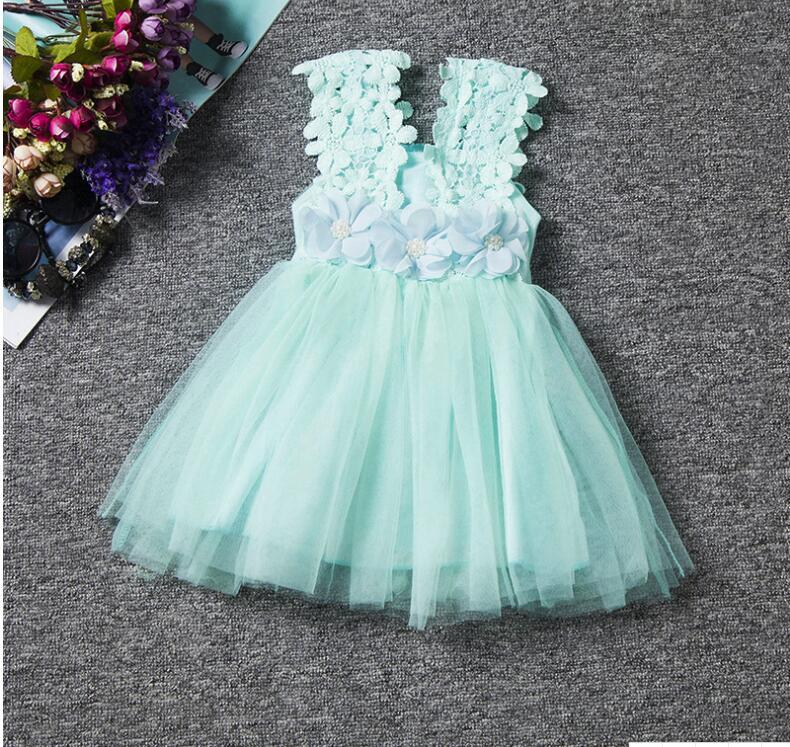 Newly Pink Lace Short Flower Girls Dress Fall Summer Gowns Wedding Kids Gowns