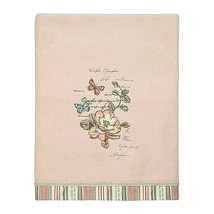 "Avanti Butterfly Garden Bath Towel Embroidered Pale Pink Guest Bath 27x50""  - $49.38"