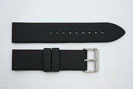 24mm Liso Pesado Italiano Caucho Negro Correa para Reloj de Pulsera para... - $21.74