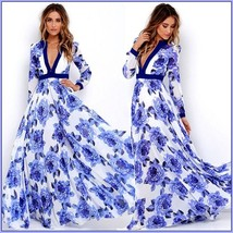 Ladies Empire Waist Flowing Full Flare Blue Roses Print V-Neck Long Sleeve Dress image 2
