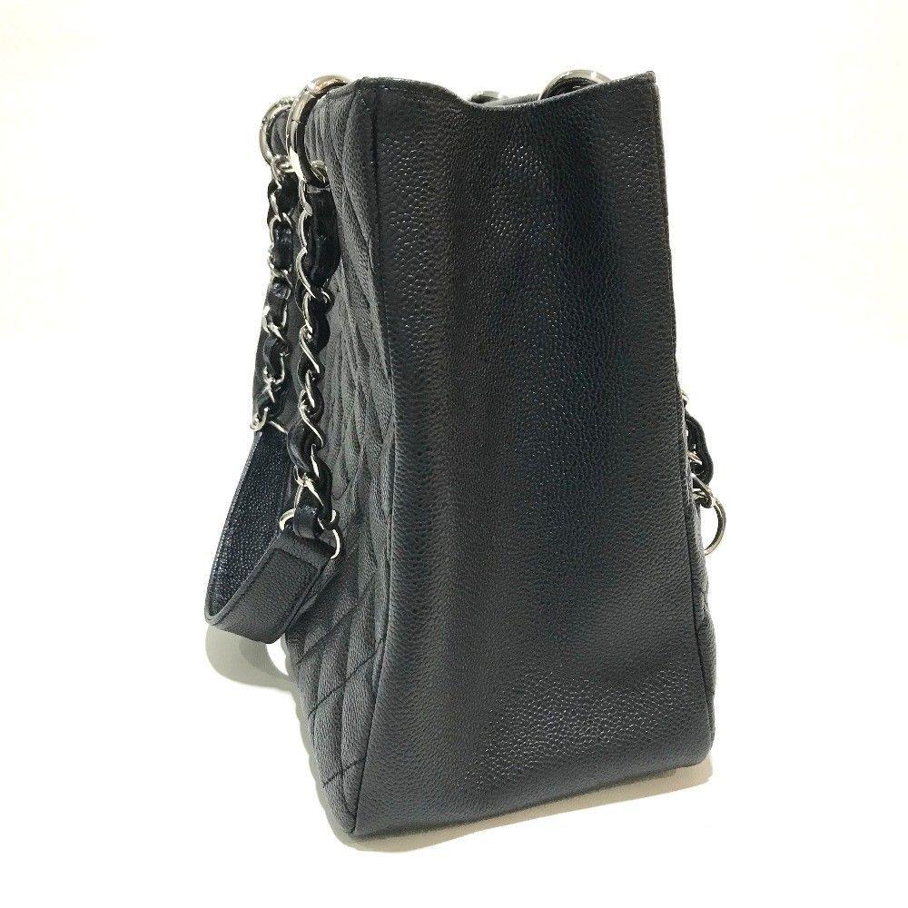 9121bb50f2f2c0 AUTHENTIC CHANEL CC Mark Matelasse Tote Bag Black/SilverHW Caviar Leather  A50995