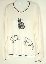 Vtg Southern Lady Sweater Cats Fish Bowl plaid crazy cat Lady Kitsch Wom... - $29.65