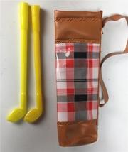 Vintage Barbie Golfing Greats Golf Bag Clubs MOD 2 Yellow Clubs Tartan P... - $8.90