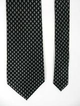 Zylos Mens Neck Tie Black With White And Gray Geometric Diamonds 100% Silk  - $19.79