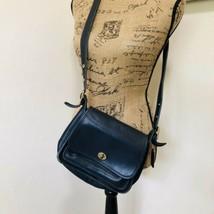 Vintage COACH Black Leather Crossbody Messenger Purse Bag Handbag - $52.35