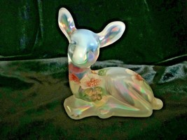 Fenton Art Glass Hand Painted Lenton Rose Opalescent Fawn Deer Figurine - $75.00