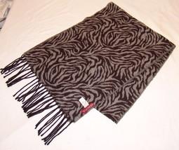 Merona Black Gray Animal Print Scarf Soft Wrap Long Zebra - €16,63 EUR