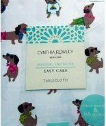 "Cynthia Rowley Dogs with Sunglasses Indoor/Outdoor Tablecloth 104"" Oblong - $45.00"