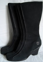 Timberland Black Leather Knee High Boots 9 9M Zippers Heels Rubber Soles - $99.95