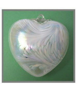 """Hanging Glass Heart 4"""" Frosty White with AB Swirls (1) #10 - $13.86"""