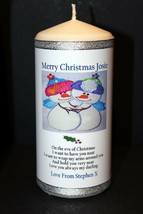 "Personalised gift  Girlfriend Wife Christmas candle large 6""inch  #1 - $16.31"