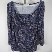 Michael Kors Camisa Top a Small S Lila Estampado Arabescos Cuello Chimen... - $32.15