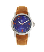 Shield Berge Leather-Band Men's Diver Watch - Silver/Blue - $680.00