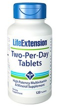 THREE BOTTLE  Life Extension Two-Per-Day 120 Tablets Multi Vitamin Mineral - $44.55