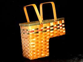 Double Handled Swing Basket Handmade AA19-1577 Vintage image 4