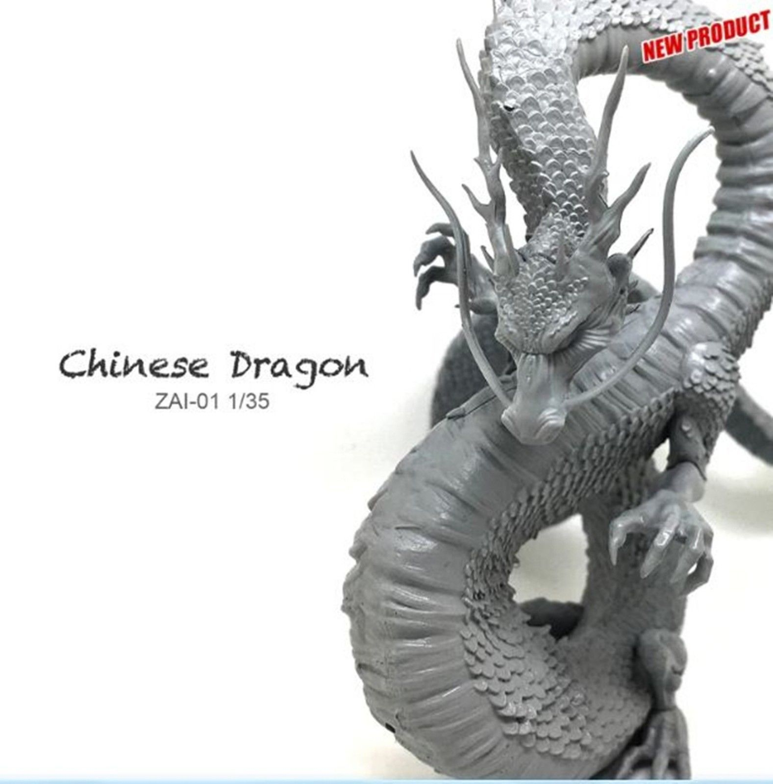 Miniature 1/35 Resin Model Loong Chinese Dragon 90mm Dragon Figure Kit ZAI-01