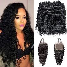 Ms Sunlight Brazilian Deep Wave Human Hair Bundles 10 12 14 inch with 10 inch Cl