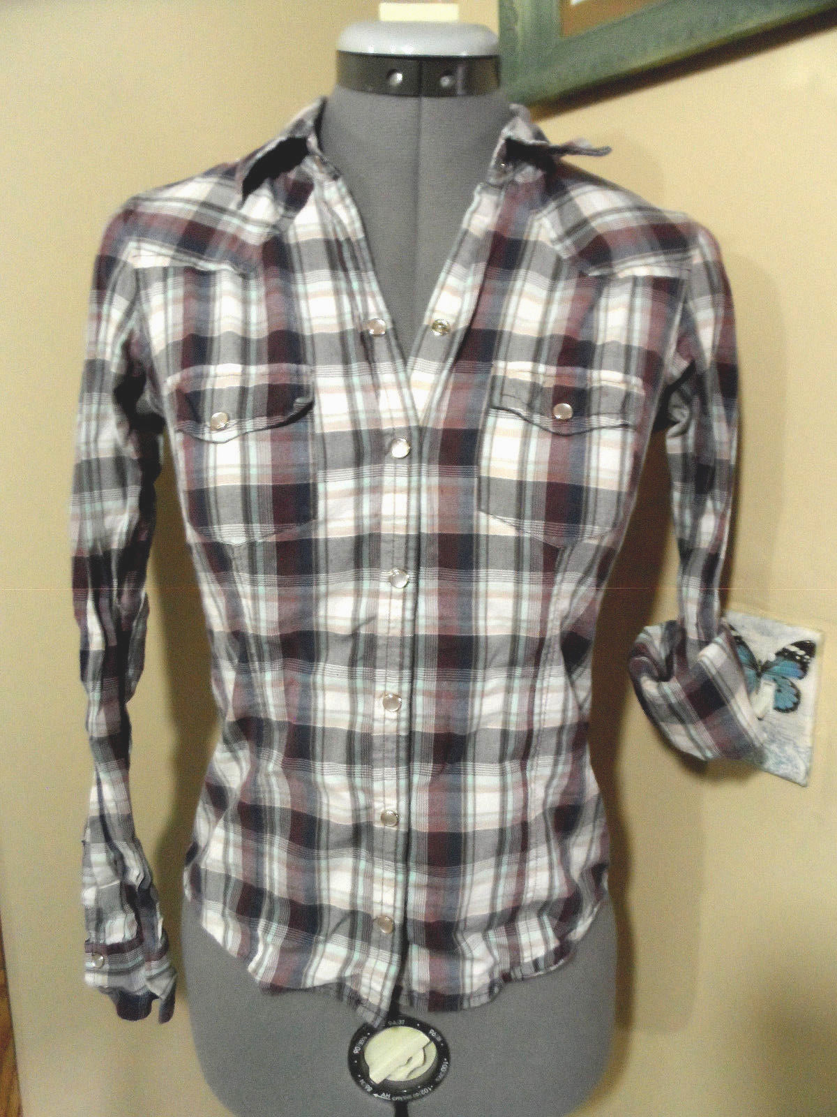 Primary image for AEROPOSTALE Pearl Snap Shirt XS Wine Blue White Plaid long slv Western Cowgirl