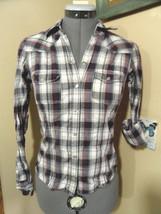 AEROPOSTALE Pearl Snap Shirt XS Wine Blue White Plaid long slv Western C... - $7.91